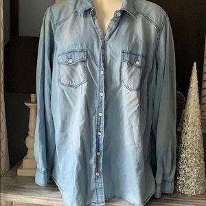 Torrid soft denim button down shirt light blue 2